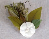 vintage white or light ivory velvet flower hair clip with antique beads and vintage green feathers olive feathers headpiece - ready to ship