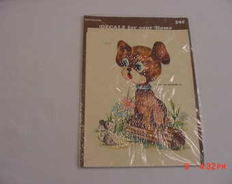 Vintage Meyercord Decorator Decal Sheet Puppy Dog & Mouse  17 - 297