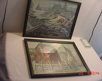 Set Of 2 Vintage Paint By Number Sea Side - Boat - Segull - Ocean Framed Pictures  17 - 619