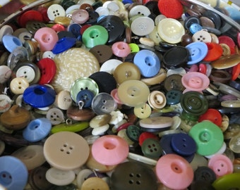 Vintage Buttons-Giant 3Pound Lot-Glass-MOP-Bakelite-Celluloid-Metal-and so Much More