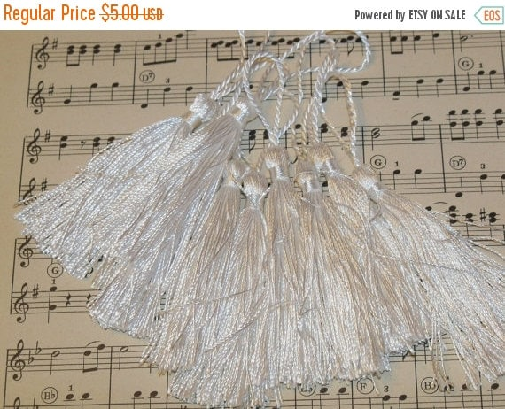 ON SALE French Tassels-DIY-Garland-Bunting-Supplies-Marie Antoinette-6 pieces-Wedding White