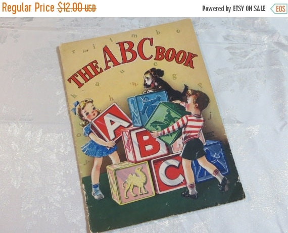 ON SALE Vintage Childrens Book-The ABC Book-1940-Linen-Whitman