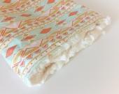 Baby GIRLS Blanket -Boho Blanket /Aztec Baby Blankets /Minky Blanket / Bohemian Baby Girl Nursery Blanket /Travel Blanket/Ready to Ship Gift