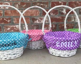 SALE Polka Easter Basket, Monogrammed Easter Basket, Easter Basket, Polka Dot Easter Basket, Monogram, Easter Bunny, Personalized, Easter