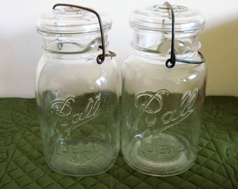 "2 Vintage ""Ball Ideal"" Quart Sized Glass Canning Jars, Glass Lids and Wire Bale Locking System Circa 1930's  Lot AA"