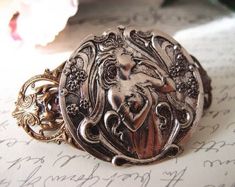 Art nouveau goddess barrette-aged brass-Victorian-bridal-medieval-shabby chic-steampunk-mythology V005