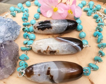 Agate bar necklace, agate stone strand necklace, stone tube folk statement necklace