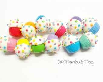 Set of 12 Multicolored Cold Porcelain Cupcake Clay Charms, Clay Cupcake Pendants, Purse Charms, Gift /DIY Necklace, Jewelry & Accessories