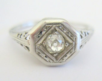 SALE - European Cushion Cut Diamond in Art Nouveau / Art Deco 10 KWG Filigree Wedding Engagement Right Hand Ring