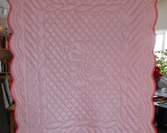 Baby Girl or Boy:  Peach Tricot and Flannel Hand Quilted Baby Quilt with Crochet Edge Teddy Bear