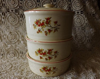 Vintage Stacking Casserole Set by Universal Bittersweet Pattern 4 Pc Set Orange Berries Trim 1940s Meal Carrier Casserole Dishes Kitchenware