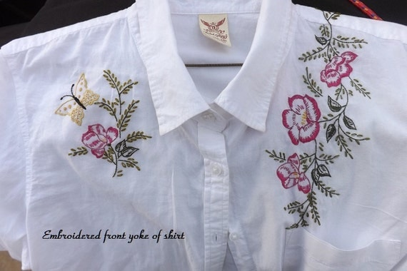 Hand Embroidered Women's White Cotton Shirt With Wild Roses and Butterflies  (Created In My Studio)