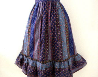 Vintage 70s Blue Boho Midi Skirt - 1970s Hippie Blue Floral Skirt - Flower Power Skirt - Boho Chic Midi Skirt - Size Medium estimated
