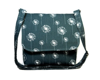 Small Messenger Bag for Women, Dark Gray Cross Body Bag, Gray Dandelion Purse, Gray White Pocketbook, Fabric Crossbody Purse, Shoulder Bag