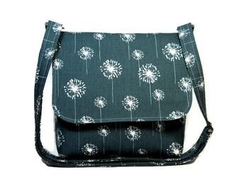 Small Messenger Bag for Women, Dark Gray Cross Body Bag, Gray Dandelion Purse, Gray White Pocketbook, Fabric Crossbody Purse, Shoulder Bag