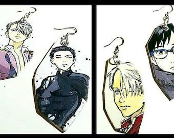 VICTUURI - Yuri & Victor hand-painted earrings - Yuri on Ice Anime inspired