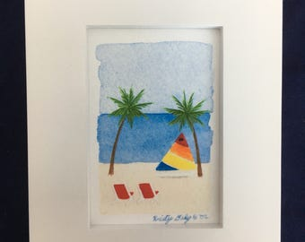 "Beach Day Watercolor - Giclee Print with Frame - 4"" x 5"""