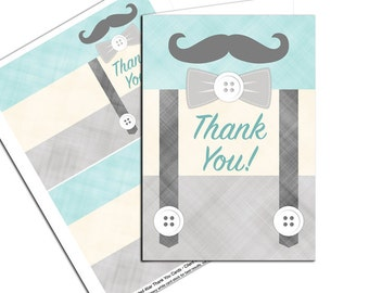 Little man mustache folded thank you note cards - WLP00771