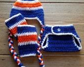 New York Islanders Inspired Ice Hockey Hat Diaper Cover Leg Warmers Set Photo Prop Hand Crocheted Blue Orange White Halloween Sports Costume