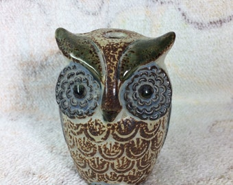 1970s Ceramic Owl Toothbrush Holder Pottery Clay Bathroom Kitsch