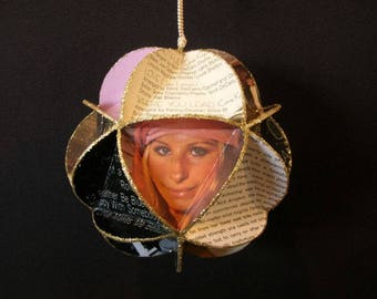 Barbra Streisand Album Cover Ornament Made Of Repurposed Record Jackets