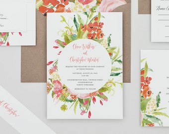 Rustic Floral Spring Wedding Invitations,Colorful Floral Wedding Invites,Spring Floral Wedding Invite,Bright Floral Country Wedding Invites