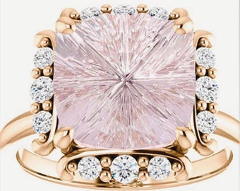 Pink Morganite Diamond Ring Rose Gold Designer Stone