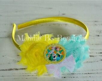 CLOSING SALE Frozen Fever Headband-Disney FROZEN-Elsa Anna Olaf shabby flower headband-made by Maddie B's Boutique