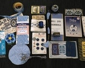 Vintage American Sewing Inspiration Kit Blue Sewing Supplies Sewing Notions Seamstress Sewing Notions Styling Photography Prop