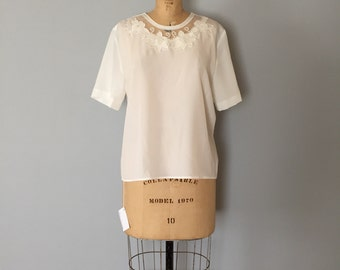 SALE...mesh embroidered crop top | semi sheer porcelain blouse