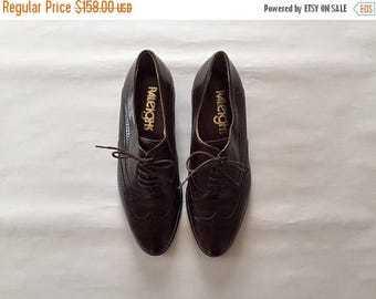 30% OFF SALE... dark hickory brown oxfords | perforated leather italian oxfords | 8.5