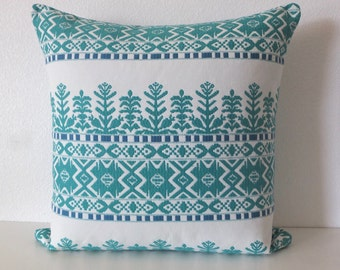 Aztec Tribal Teal Green Pillow Cover