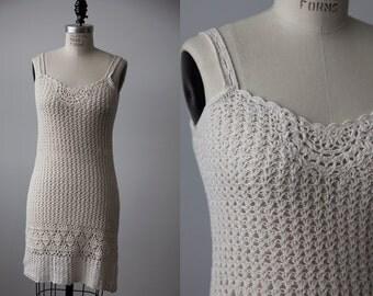 Vintage Crochet Mini Dress 90s Natural Cotton United Colors of Benetton S