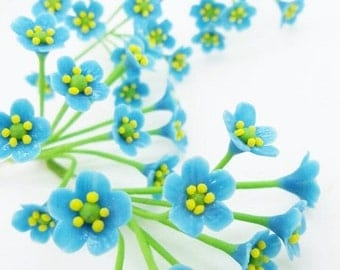 Forget-Me-Not, Miniature Polymer Clay Flowers Supplies for Dollhouse, set of 12 stems