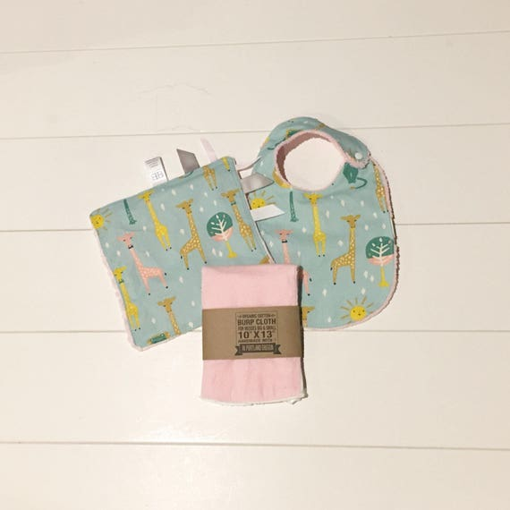 Organic Giraffe Print Gift Set - Infant Bib, Burp Cloth, Crinkle Sensory Lovey - New Mom Essentials Baby Shower Gift