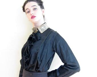 Vintage Victorian Blouse in Black Satin and Cream Crocheted Lace Collar / 1800s Shirtwaist Antique Button Down Silk Shirt / Medium