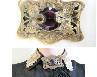 Antique Edwardian 1900s Brass Brooch with Purple Czech Glass / Victorian or Art Nouveau Sash Pin