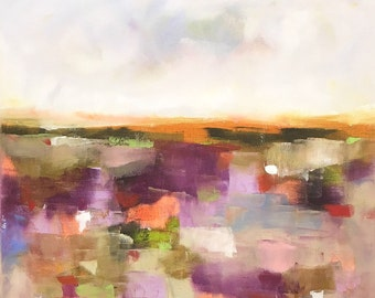 Colorful Abstract Landscape Original Painting in Frame - Summer Mosaic 20 x 20