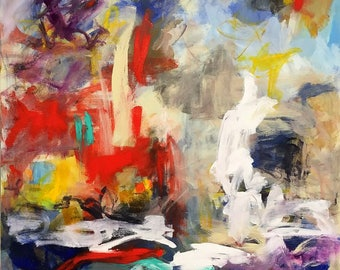 Large Colorful Abstract Expressionist Original Painting -City Life 36 x 48
