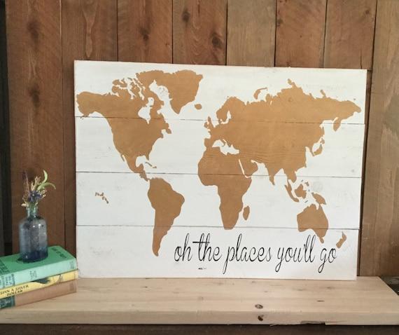 Travel Themed Decor Wood World Map Gold Nursery Wall Art