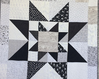 Modern Baby And Mom Star in Star Modern Nursery Quilt,  Wall Quilt  in Grey, BLack and White,  by Dream Vintage Sheets