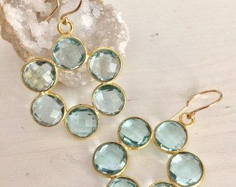 Gemstone flower earrings / blue topaz hydro gemstones/ flower earrings /bezel set earrings gemstone dangle earrings