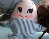 RESERVED for ajj777 Plakie Humpty Dumpty vintage doll, lovey, pillow doll, about 8 inches tall for a sweet little someone you know to hug