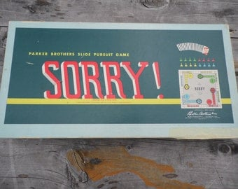 Sorry Vintage 1958 board game by Parker Brothers COMPLETE game with all playing pieces cards and instructions ready for family game nite