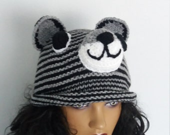 Gray and Black Tiger Hat -Knitting Baby  Hat  - for Baby or Toddler-boy halloween costume