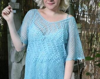 MaySale Women's Vintage Crochet Dress Two Piece Top Skirt Set in Sky Light Blue, S-M-L Plus Slip!