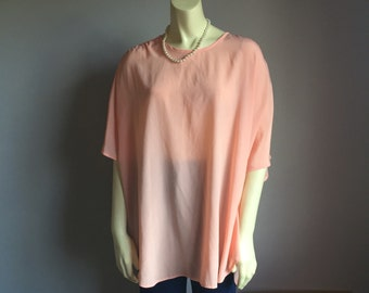 80s plus size fitting image coral pastel peach dolman short sleeve 1980s vintage blouse top 3x 2x xxxl sheer keyhole neckline kawaii womens