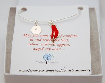 Sympathy Gift, Cardinal Necklace, Personalized Jewelry,  Memorial Gift, Memorial Jewelry, In Memory of, Remembrance Gift