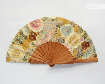 Kimono fabric folding hand fan with case - Pastel Chrysantemun on beige - Spring accessory - shower hostess gift - menopause relief