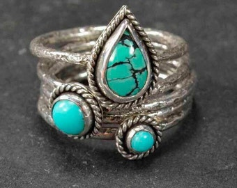 Turquoise Rings, Sterling Silver Rings, Stacking Rings, Silversmith